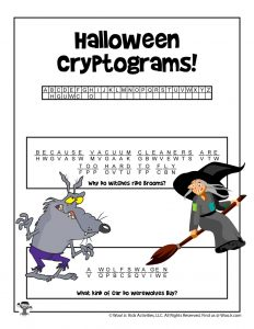 Halloween Cryptogram Word Puzzle Game - KEY