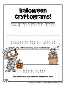 Printable Halloween Cryptogram Puzzle - KEY