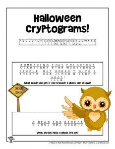 Halloween Cryptogram Puzzle Game - KEY