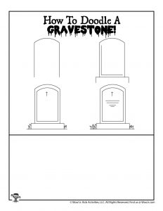 Gravestone Halloween Drawing Page for Kids