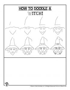 Halloween Witch Kids Drawing Lesson