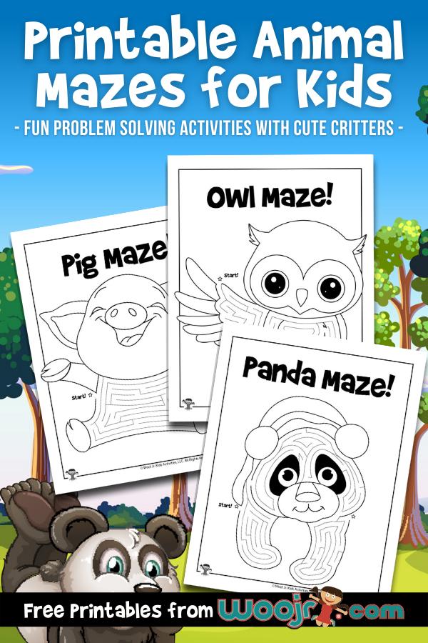 Printable Animal Mazes for Kids