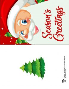 Seasons Greetings Santa Printable Card