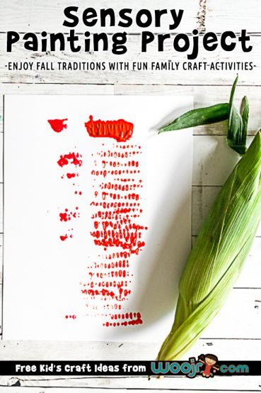 Sensory Process Art Project with Corn Cobs for Fall