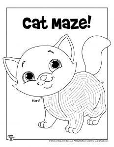 Cat Labyrinth Maze Kids Activity Sheet