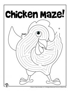 Chicken Printable Coloring Page Maze for Kids