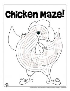 Chicken Printable Coloring Maze for Kids - ANSWER KEY