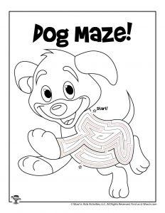 Puppy Dog Maze Puzzle Worksheet - KEY