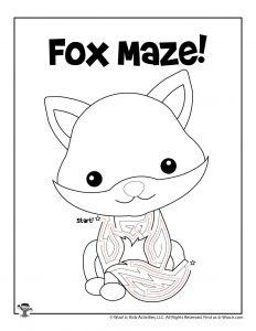 Fox Maze Activity Worksheet for Kids - KEY