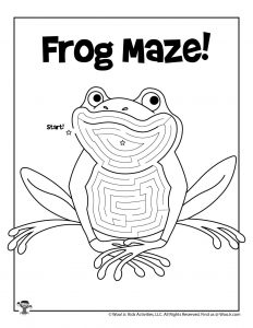 Frog Maze Coloring Page for Kids