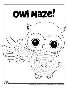 Owl Printable Maze for Kids