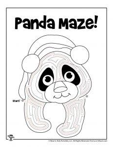 Panda Animal Maze to Print - KEY