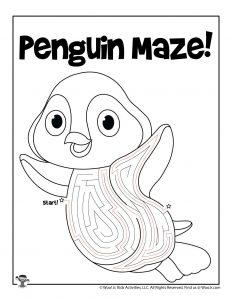 Penguin Animal Maze Puzzle - ANSWER KEY