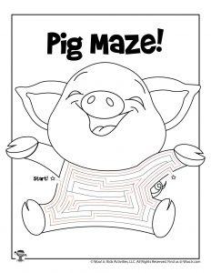 Pig Animal Mazes for Kids - KEY