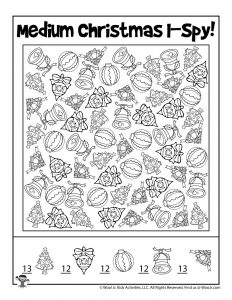 Printable I Spy Christmas Activity Page - KEY