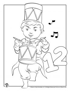 12 Drummers Drumming Holiday Coloring Sheet