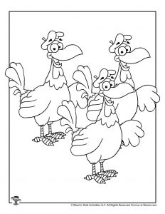 3 French Hens Holiday Coloring Pages for Kids