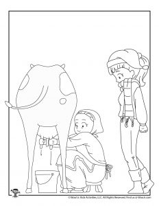 Eight Maids a Milking Kids Coloring Page