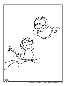 Two Turtle Doves Printable Coloring Page