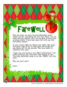 Elf on the Shelf Goodbye Letter Template