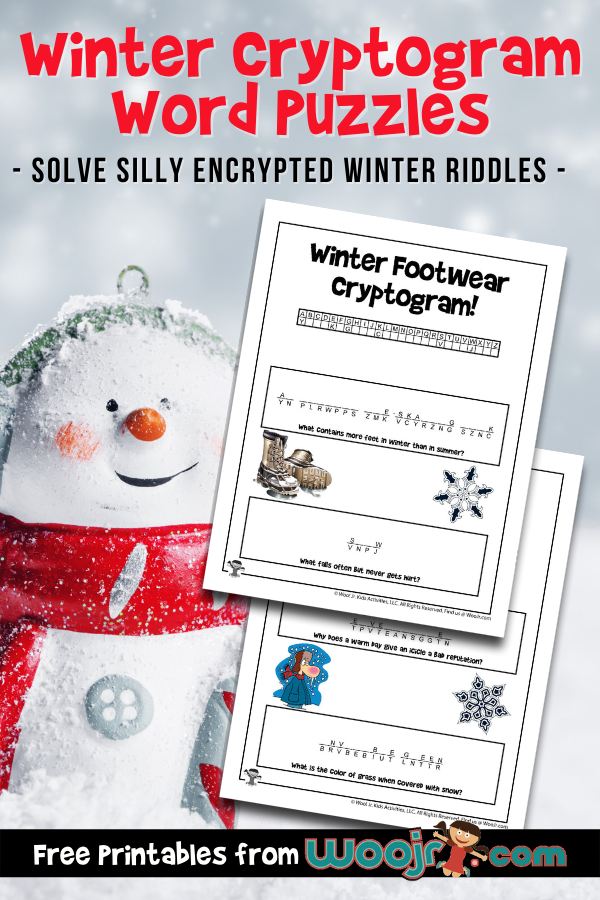 Winter Cryptogram Word Puzzles