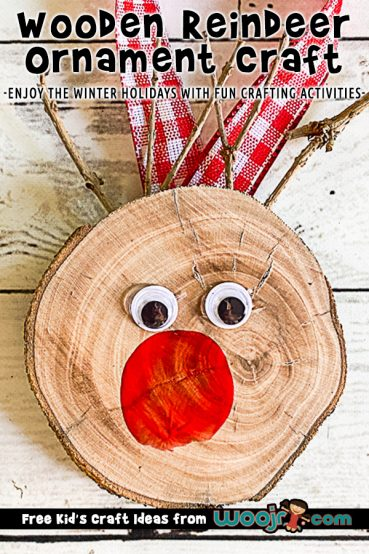 DIY Wood Slice Rudolph Ornament