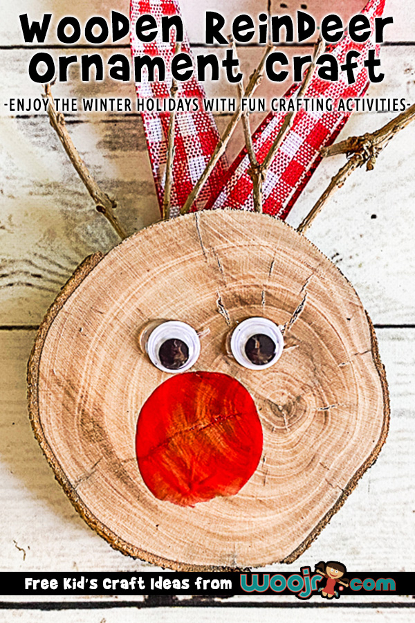 DIY Wood Slice Rudolph Ornament