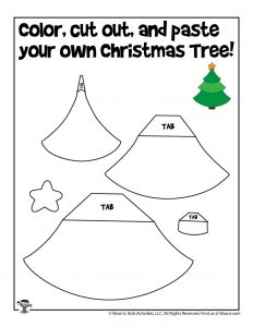 Christmas Tree Color Cut and Paste Printable