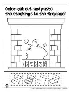 Hang Christmas Stockings on Mantle Preschool Worksheet