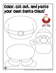 Preschool Santa Christmas Cut and Paste Activity Pages