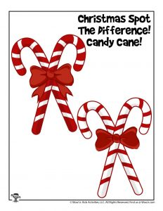 Christmas Candy Cane Spot the Difference Worksheet