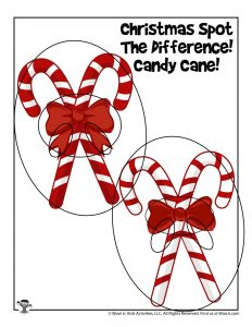 Candy Cane Christmas Printable Activity Page - KEY