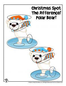 Polar Bear Printable Christmas Game - KEY