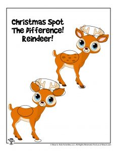 Reindeer Christmas Activity Page for Kids - ANSWERS
