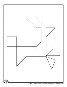 Reindeer Christmas Tangram Puzzle for Kids
