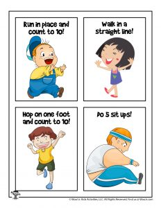 Physical Exercise Flash Cards for Kids