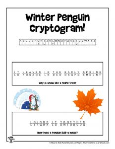 Winter Cryptogram Puzzle for Kids - ANSWERS