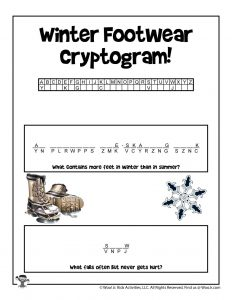 Winter Crack the Code Puzzle for Kids