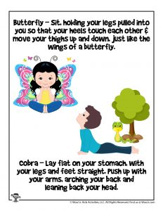 Butterfly Yoga Pose Activity Page for Kids