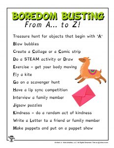 A to Z Boredom Busting Activities for Kids
