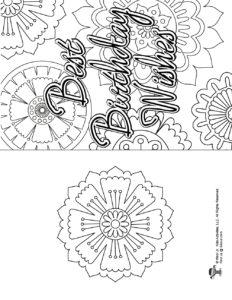 Printable Flower Mandala Coloring Birthday Card
