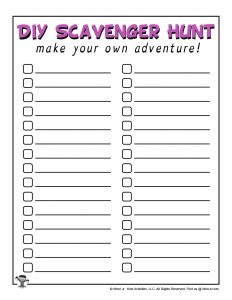Printable Kids Scavenger Hunt Game