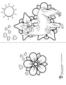 Printable Llama Coloring Page Birthday Card