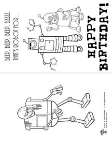 Robot Birthday Card Coloring Page
