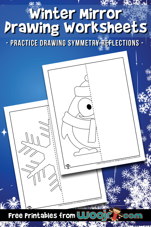 Winter Mirror Drawing Worksheets
