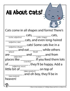 All About Cats Ad Libs Word Game