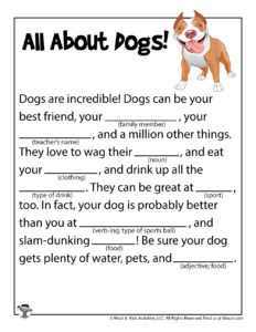 Dogs and Cats Ad Libs Writing Game for Kids