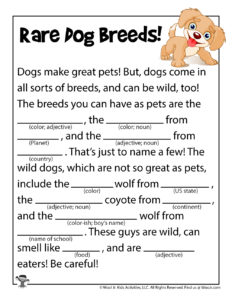 Rare Dog Breeds Ad Libs Game to Print