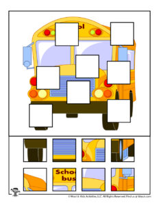 School Bus Educational Puzzle Game for Children