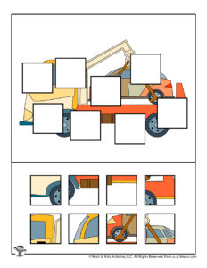 Tow Truck Kids Puzzle Activity to Print